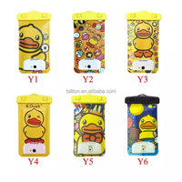 Yellow duck waterproof cell phone bag for size less than 6 inches