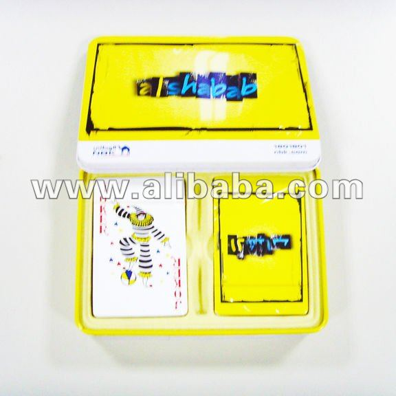 Plastic Playing Cards in Metal Tin Box Packaging