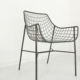 Outdoor Solid Metal Wire Frame Patio Chair, Black Outdoor Patio Furniture Dining Chair