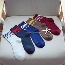 2015 Lanle cotton men socks, strip and star pattern,men custom socks