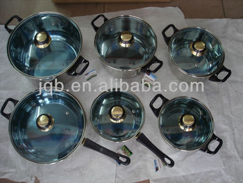 0.5mm belly shape 12pcs stainless steel cookware set