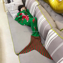 Hot Sale Baby/ Kids knitted winter Mermaid Tail Blanket warm Sleeping Bag/best christmas gift for kids