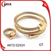 wholesale fashion jewelry wire stainless steel bracelet & rings jewerly sets gold plated