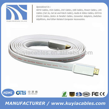 Premiun flat white hdmi cable with ethernet and 3D support 1.4