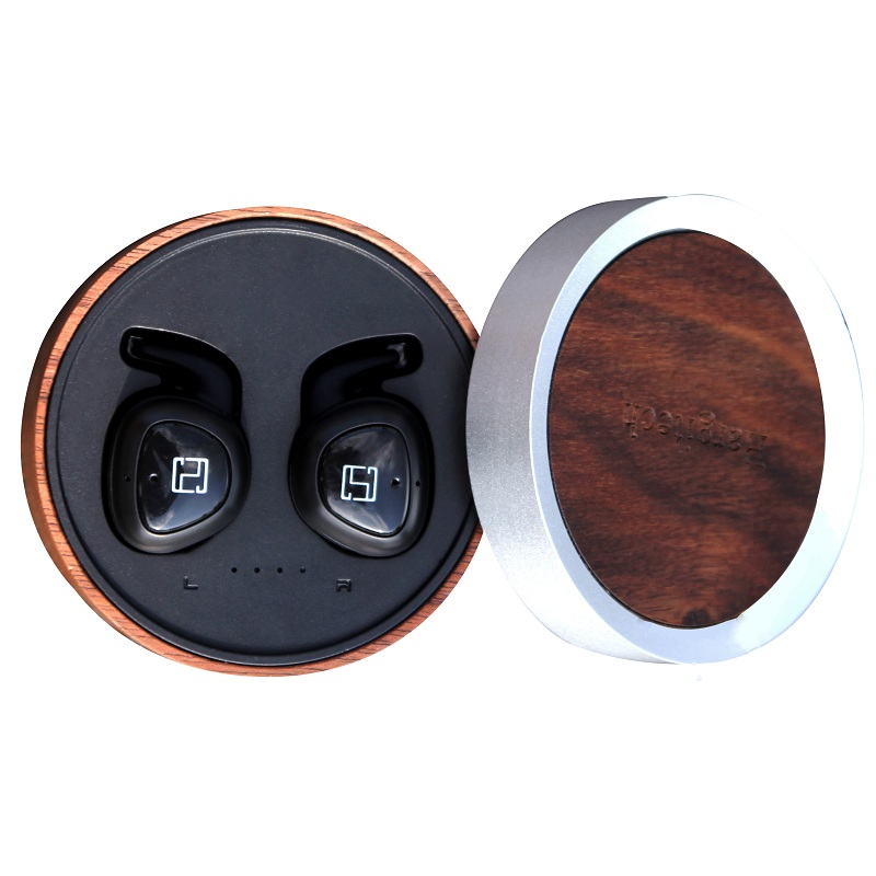 Free <strong>Sample</strong> For Phone Calls Best On Amazon Twins True Wireless TWS Earbuds 5.0 Blue Tooth Earphone Bamboo Wood ANC Headphone