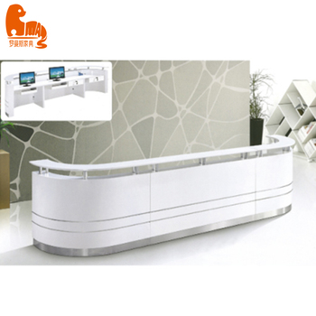 Salon and hotel curved front and information LED reception desk