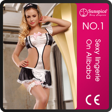 Distributor top quality sexy latex french maid costume