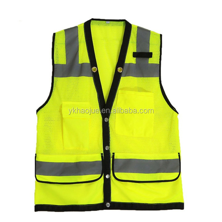hi vis mesh reflective safety vest with pockets