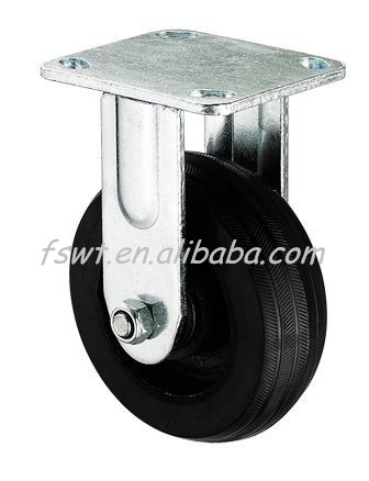 Solid Iron Core Rubber Fixed Caster Wheel