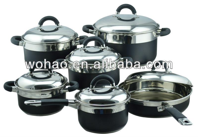 Hot Sale 12pcs Stainless Steel Cookware Set, Black color coating, Durable Capsule Bottom