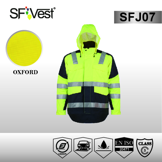 Fluorescent Yellow Breathable and Waterproof 3m Reflective Safety Jacket