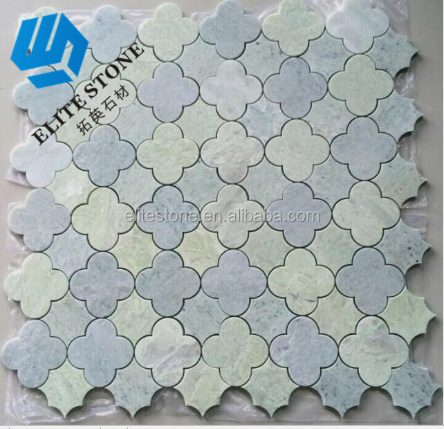 Oriental White Mixed Ming Green Marble Kitchen Decorative Waterjet Green Flower Pattern Mosaic Design