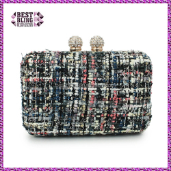 knitting wool women handbag elegance ball crystal close clutch bag ( C175)
