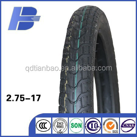 highway use TT type good quality motorcycle tubeless tire 2.75-17
