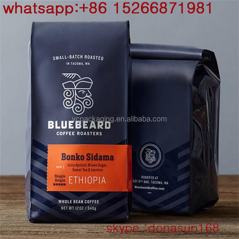250g/500g/1000g coffee bean packaging priting side gusset stand up pouch bag of coffee - custom packaging