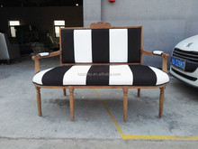 French antique leisure sofa/old fashion furniture white black stripe oak wood sofa