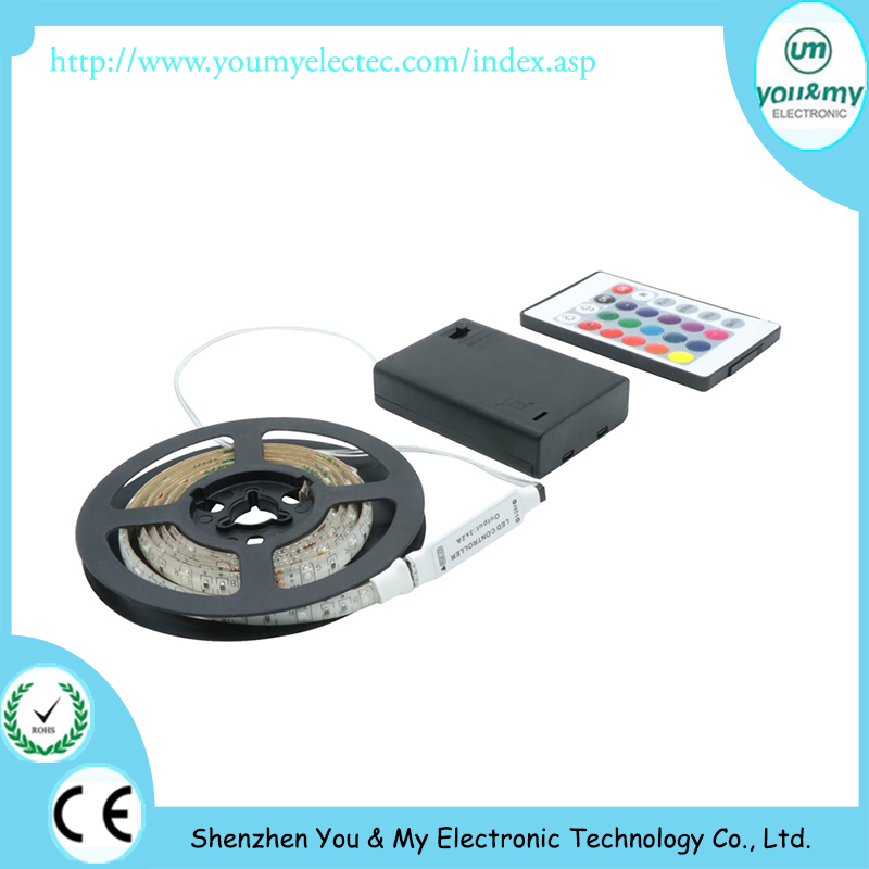 LED Strip 3528 DC 5V Black Battery Powered SMD 50CM 1M 2M Waterproof Flexible LED Strip String Light With 24 key Controller