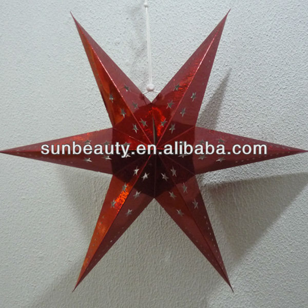 "24"" China glitter hanging paper star lanterns SM-11017"