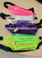 Fluorescent transparent PVC waist bags for lady