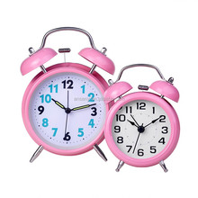 (Promotion) two Bell Ring Alarm Clock, moden table Clock, round retro table desk Clock for Kids