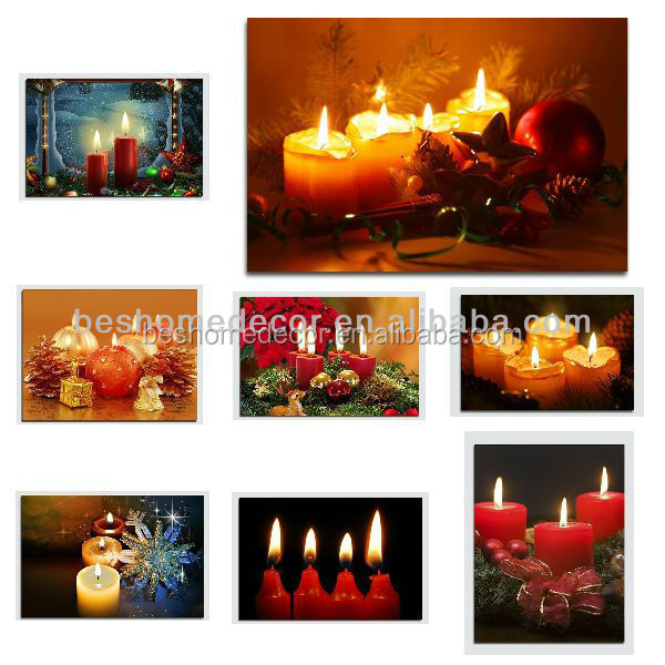 Lighted Canvas Print Primitive 3 Candles Battery Operated Led Too Cool!