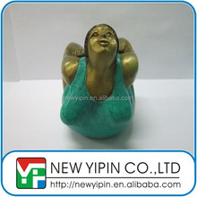 Handmade brass fat lady yoga sculpture