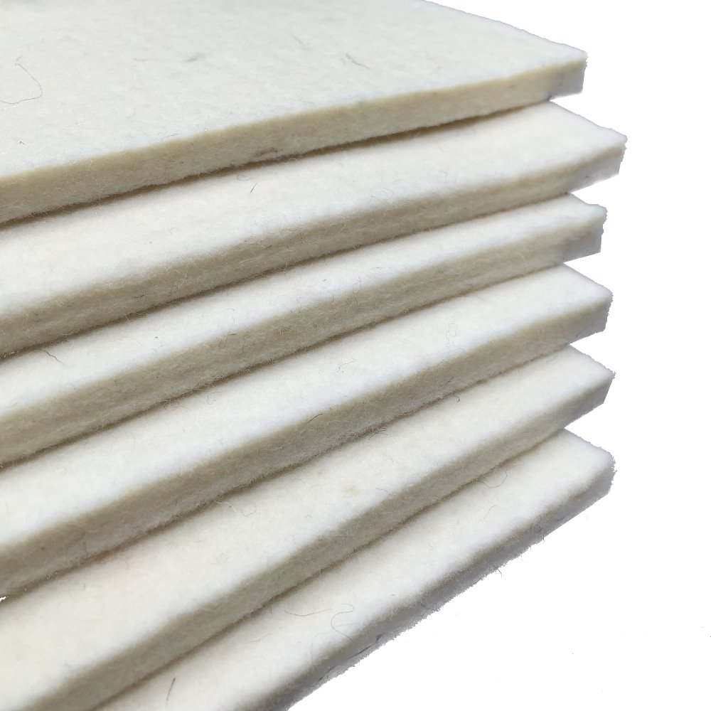 Pressed 100% White Thick Heat Resistance Wool Felt for Industrial use
