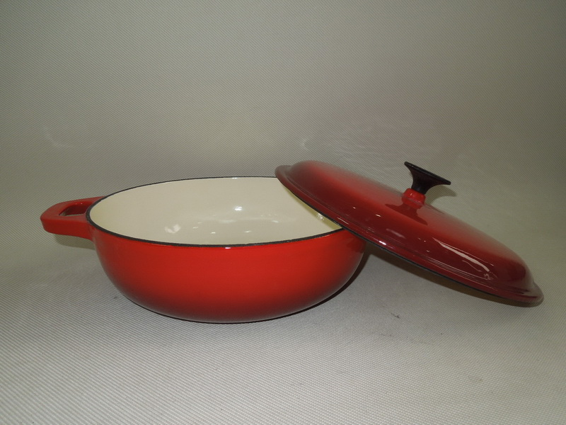 30cm Enamel Braise Cast Iron Shallow Casserole Pot