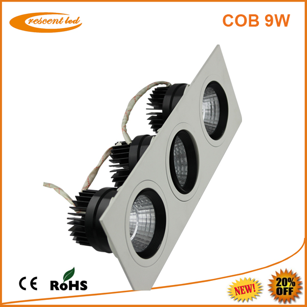 led trimless recessed downlight 9w squre aluminum housing led downlight reflector