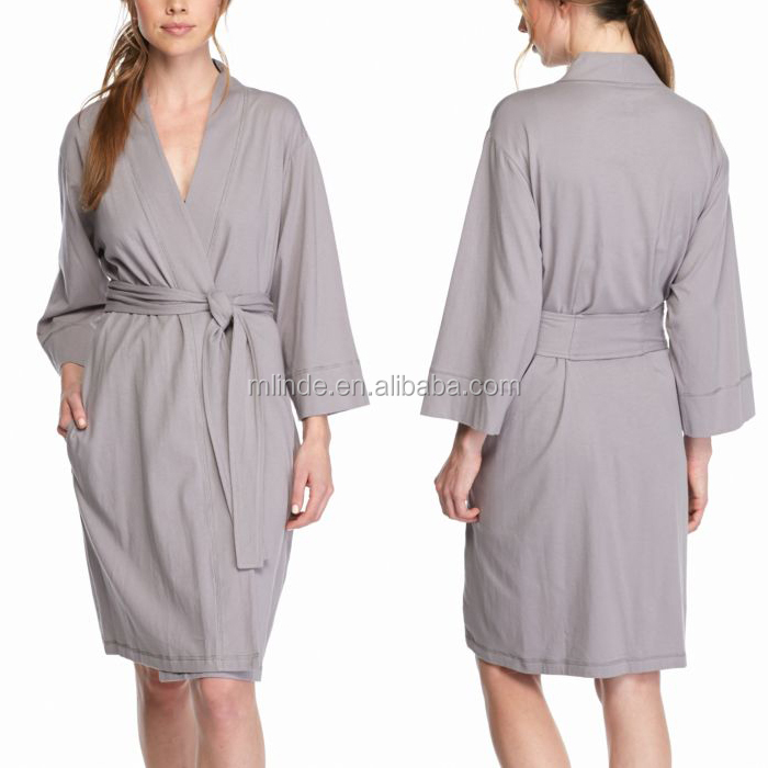 Wholesale Adult Stylish Waffle Bathing Suit Long Sleeve Shawl Collar Cotton Bath Robe Plain Evening Gowns In Hotel Women