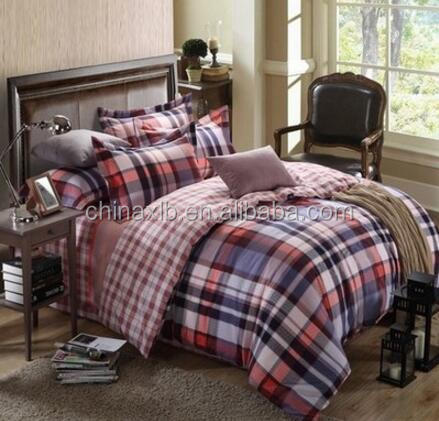 Hot sale plaid design cotton printed patchwork quilt set/ korean bedding set