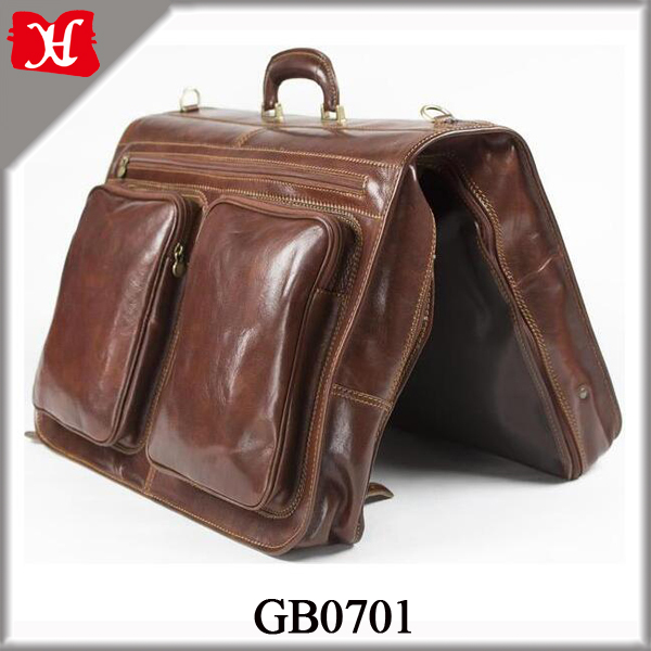High Quality Garment Bag Men Brown Genuine Leather Suit Bag