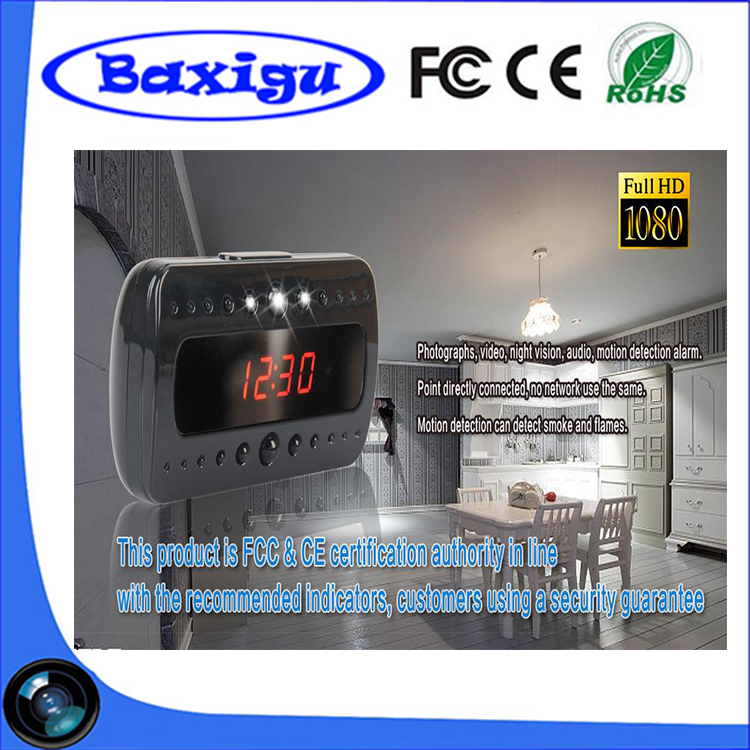 Wifi Clock Camera, Spy Camera Clock with TF Card Max 32G 1080p Motion Detection Table Nanny Wifi Spy Hidden Mini Camera Clock