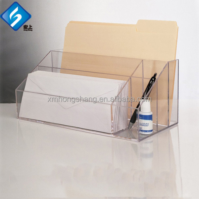 Counter Top Acrylic Brochure Holder with Wall Mount Hole and a Business Card Holder