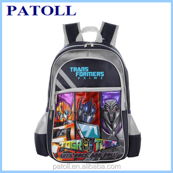 Custom design transformers school bag paypal accepted