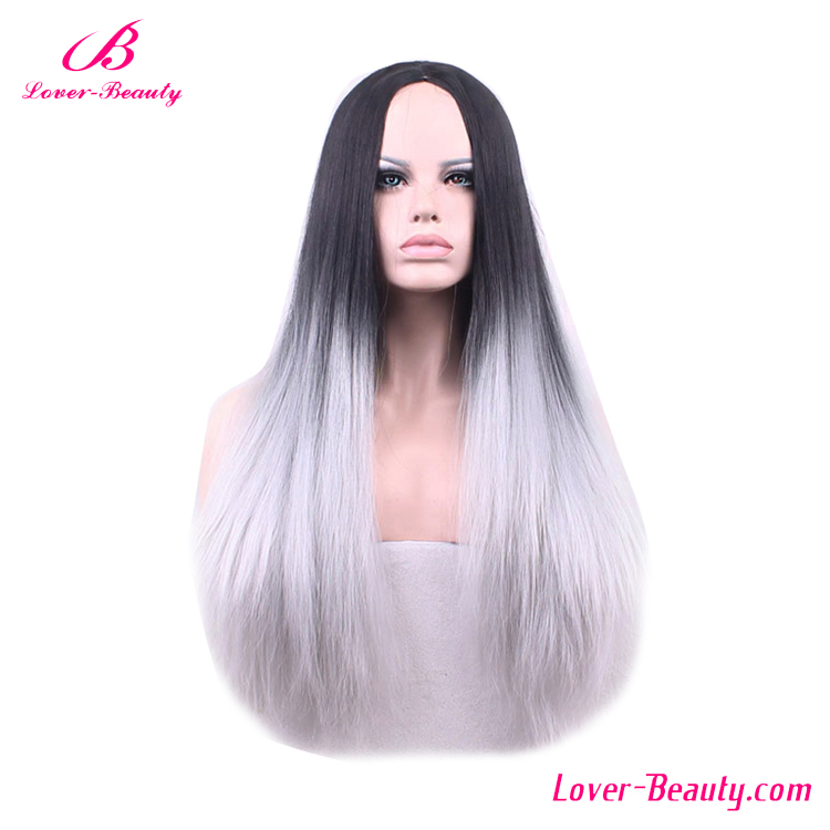 Black mixed grey straight human natural hair wig