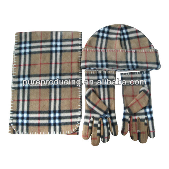 Polar fleece hat scarf gloves set