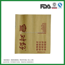 recycle paper material film laminated brown kraft paper bags for take out