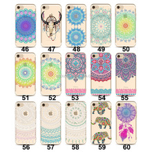 2016 soft tpu transparent colorful mandala henna case for iphone 7 plus 7P