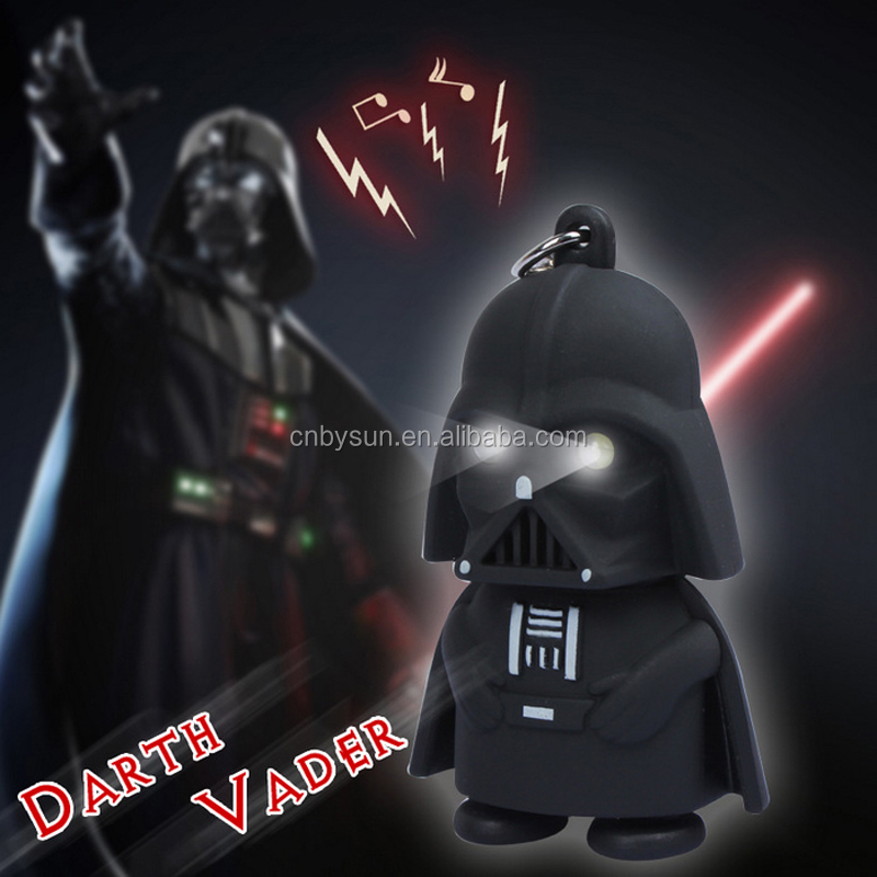 Promotional gift 3D darth vader keychain with sound and led Light