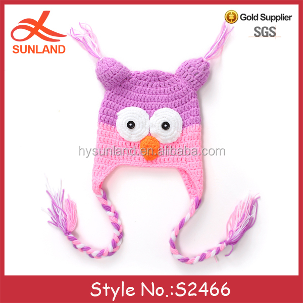 S2466 new handmade owl shaped free animal hat knitting patterns beanie animal hats