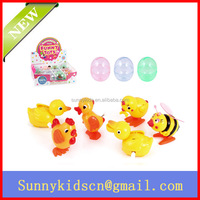 2014 HOT Plastic wind up toy wind up chick capsule toy duck bee