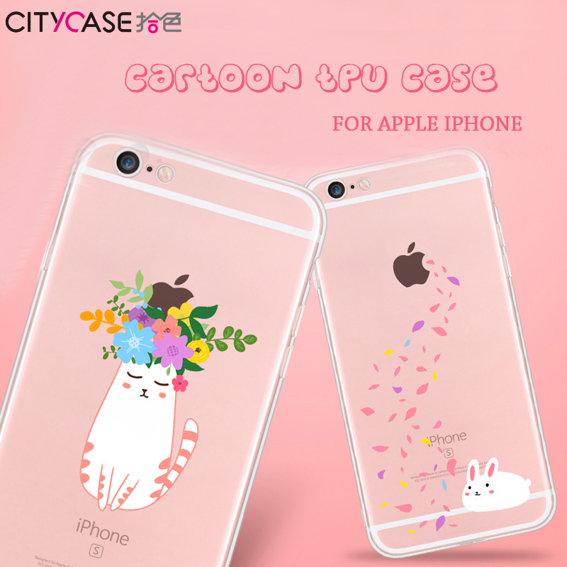 China Factory new design cartoon cat flower funda para for iphone 6 / transparent phone case for iphone