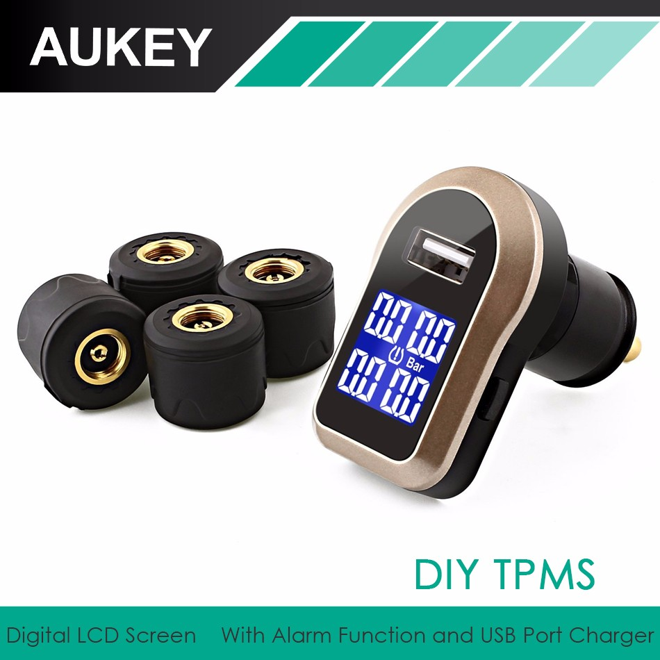 AUKEY Wireless Tire Pressure Monitoring System TPMS with USB Charging Port &Low Pressure Warning System &four Waterproof Sensors