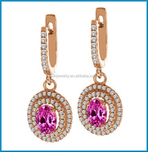 Latest rose gold plated pink created sapphire diamond 2014 fashion earrings