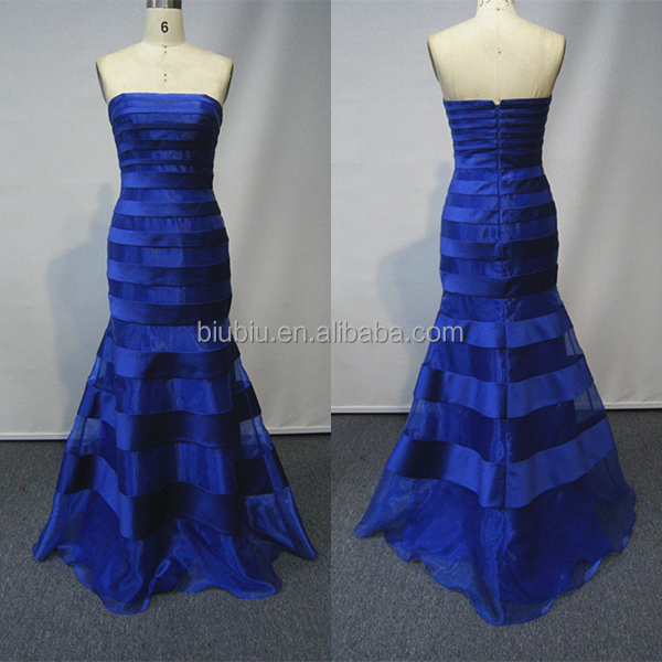Royal Blue Elegant Organza Satin Splice Strapless Long Mermaid Evening Prom Dress JS90031