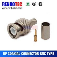 RF connector BNC male crimp electrical connector pbt gf20 for CCTV Camera