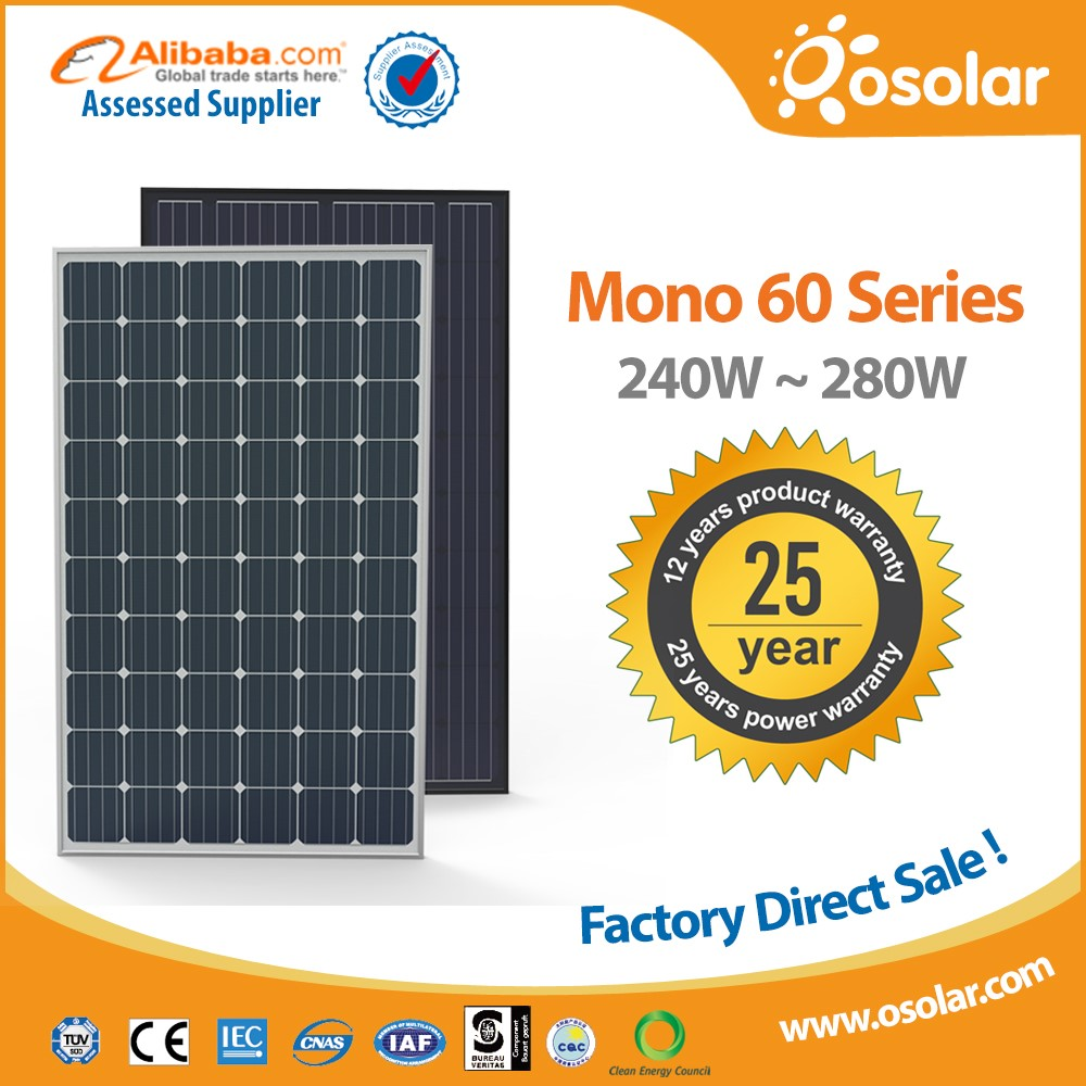 china painel solar a grade 4bb photovoltaic roof solar panel 270 watt