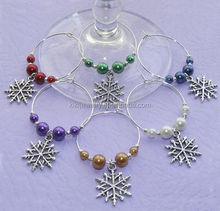 Party Design New Fashion Custom Colorful Acrylic Beads Snowflake Wine Glass Charms