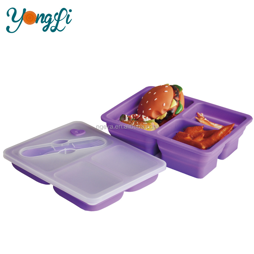 Hot Sales Foldable 3 Compartment Containers Collapsible Silicone Lunch Box